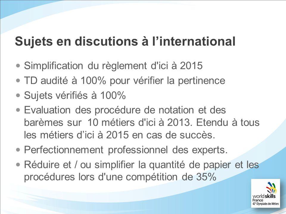 Sujets en discutions à linternational Simplification du règlement d'ici à 2015 TD audité à 100% pour vérifier la pertinence Sujets vérifiés à 100% Eva