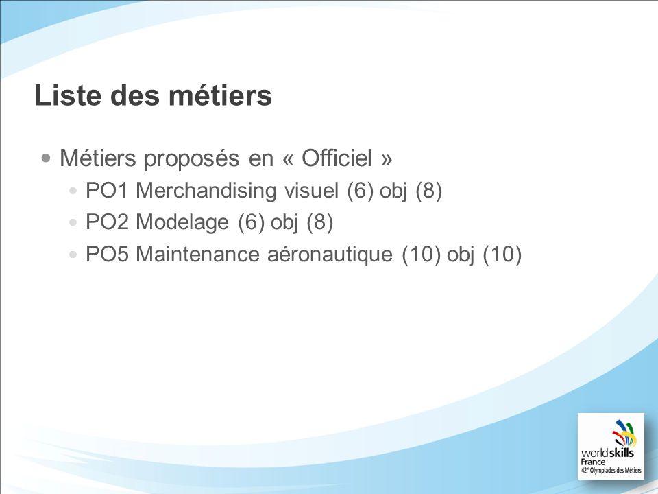 Liste des métiers Métiers proposés en « Officiel » PO1 Merchandising visuel (6) obj (8) PO2 Modelage (6) obj (8) PO5 Maintenance aéronautique (10) obj