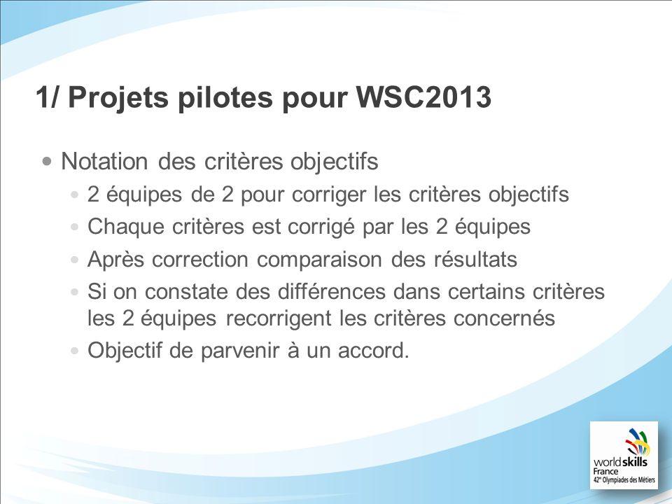 1/ Projets pilotes pour WSC2013 Notation des critères objectifs 2 équipes de 2 pour corriger les critères objectifs Chaque critères est corrigé par le