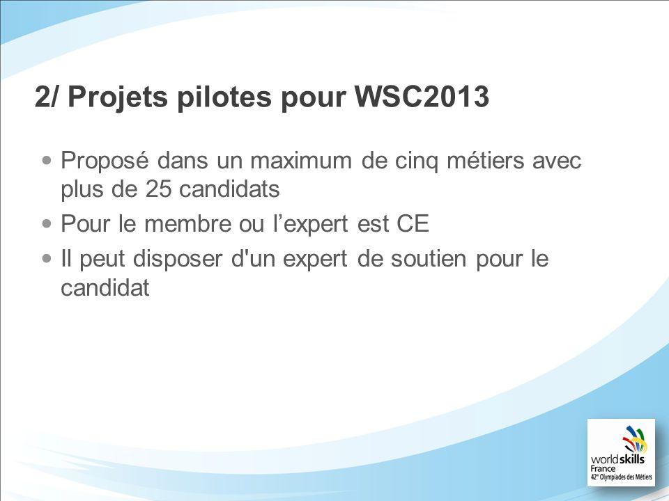 2/ Projets pilotes pour WSC2013 Proposé dans un maximum de cinq métiers avec plus de 25 candidats Pour le membre ou lexpert est CE Il peut disposer d'