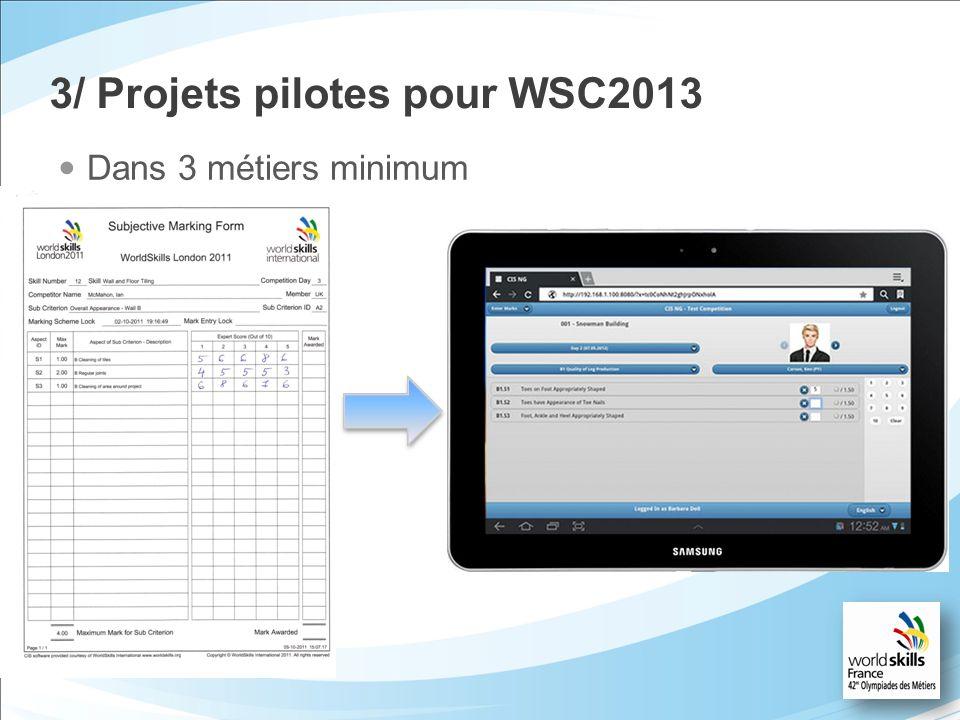 3/ Projets pilotes pour WSC2013 Dans 3 métiers minimum