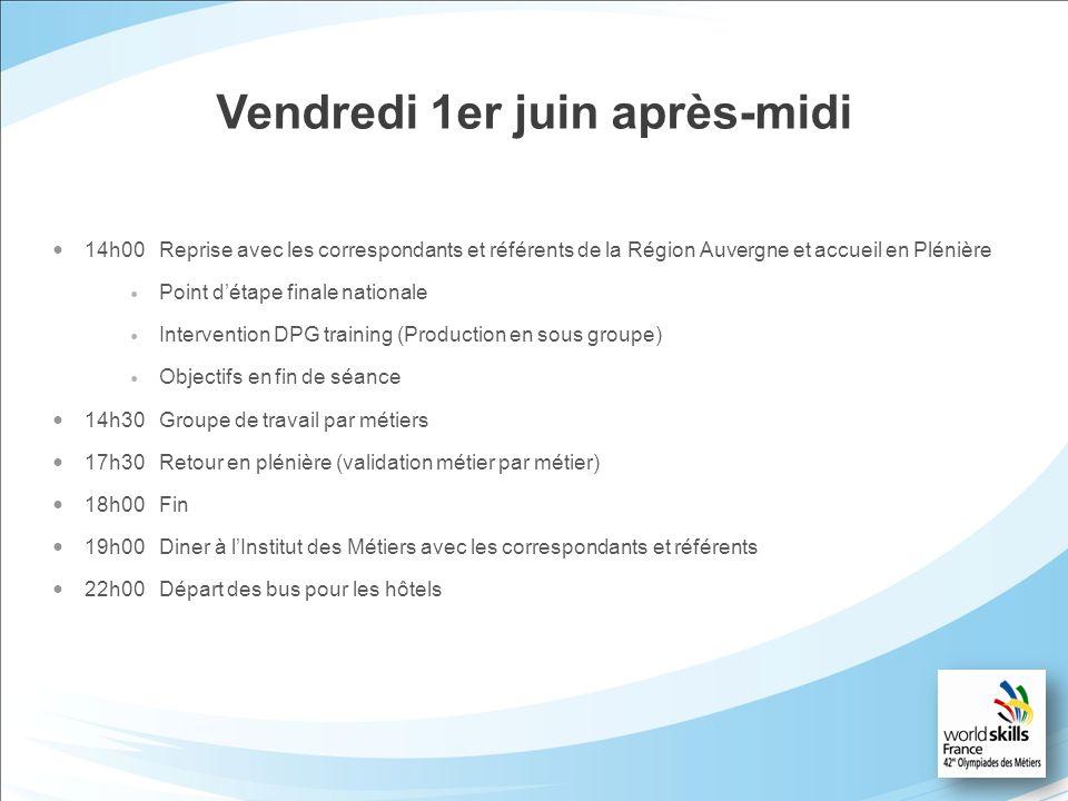 Vendredi 1er juin après-midi 14h00Reprise avec les correspondants et référents de la Région Auvergne et accueil en Plénière Point détape finale nation