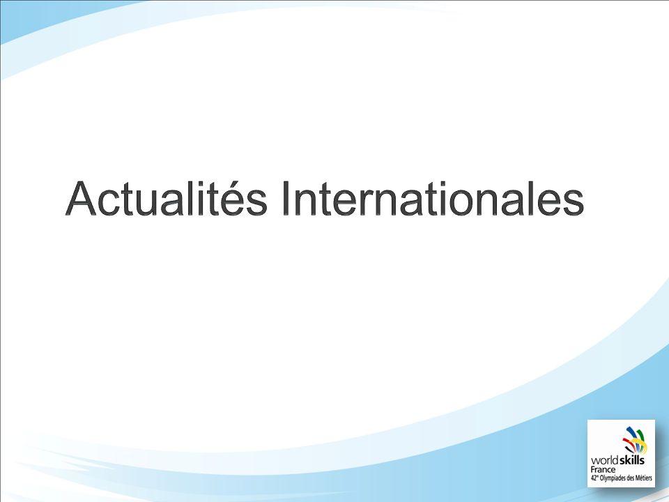 Actualités Internationales Nouveaux membres: 61 Barbade Sri Lanka Russie Evolution du Board Election au comité Stratégique Présentation dune candidature Française Elu: San-Quei LIN DO Chinese Taipei Concours 2015: