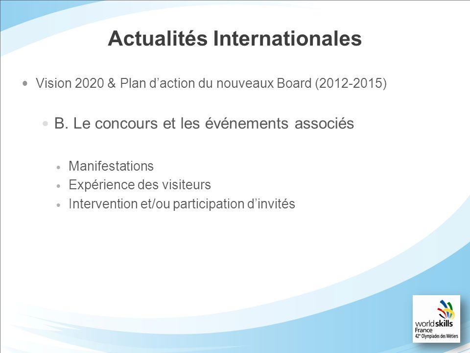 Actualités Internationales Vision 2020 & Plan daction du nouveaux Board (2012-2015) B. Le concours et les événements associés Manifestations Expérienc
