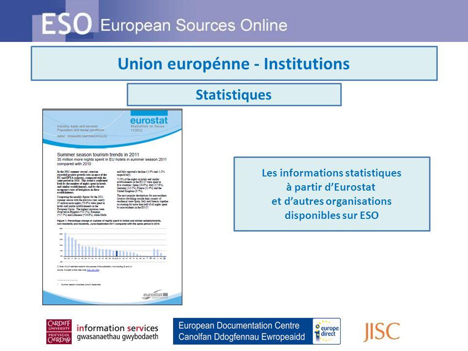 Union europénne - Institutions Statistiques Les informations statistiques à partir dEurostat et dautres organisations disponibles sur ESO