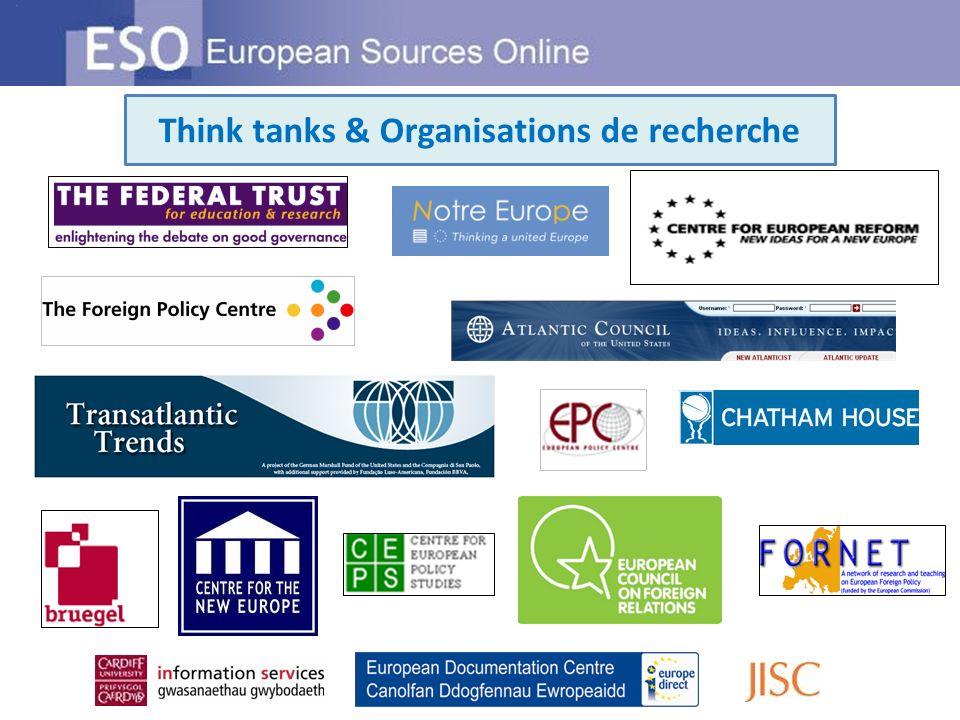 Think tanks & Organisations de recherche