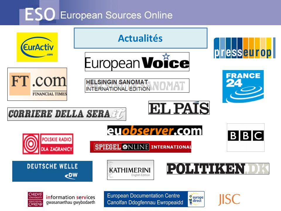 … une recherche dans ESO vous offrira une information de qualité (texte intégral et notices bibliographiques) à partir de toutes ces sources Liens à plus de 200 000 sources dinformation dont 20 000 sources dactualités en 2009 + 100 Guides dinformation ESO uniques