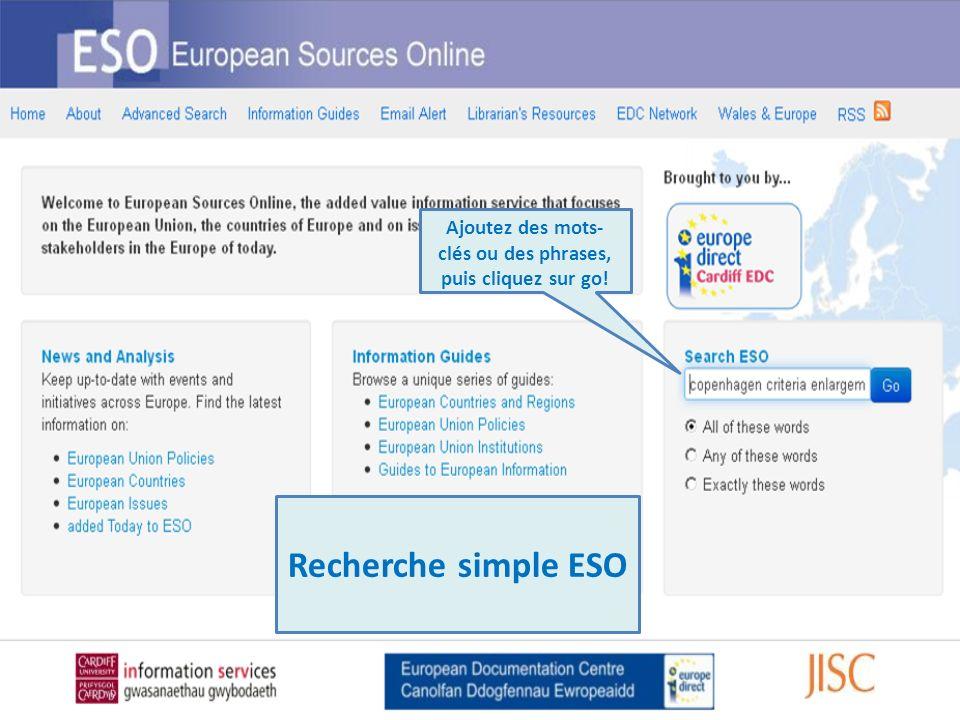 Format de chaque source Les mots-clés de votre recherche La liste vous fournit quelques brefs détails sur les résultats de votre recherche.