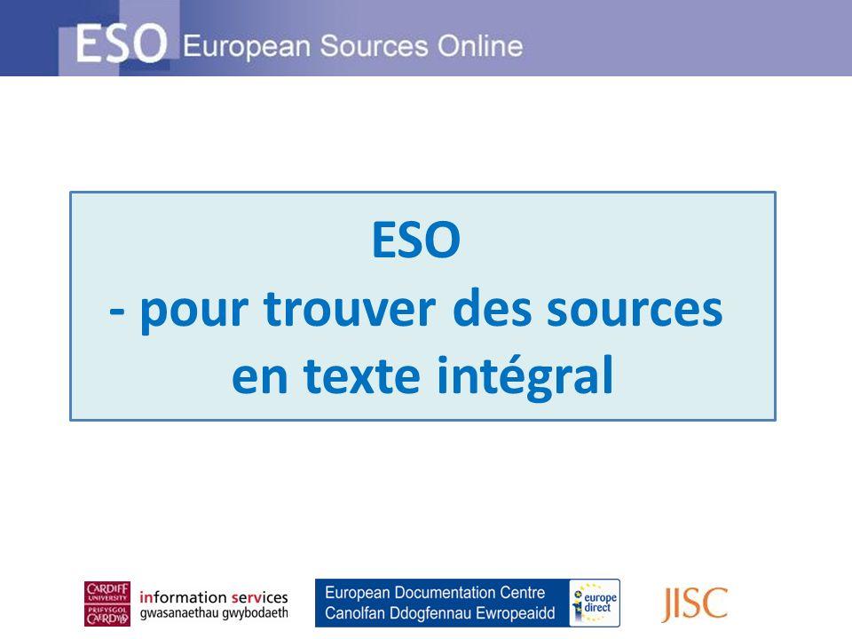 ESO - pour trouver des sources en texte intégral