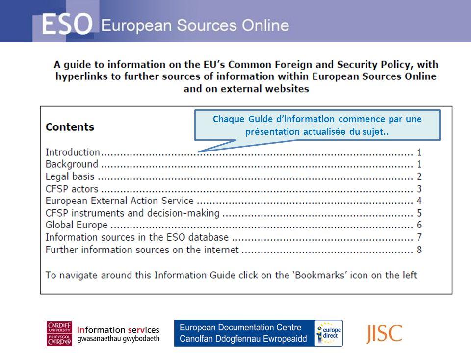 … et continue avec des liens aux informations approfondies Cliquez sur des hyperliens pour trouver plus dinformation sur le sujet du Guide dinformation au sein de ESO Hyperliens pour trouver plus dinformation sur le sujet du Guide dinformation sur les sites web externes