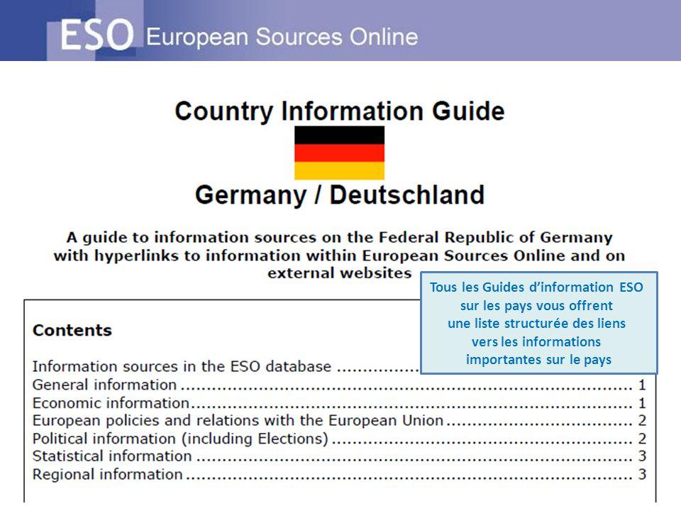 Tous les Guides dinformation ESO sur les pays vous offrent une liste structurée des liens vers les informations importantes sur le pays