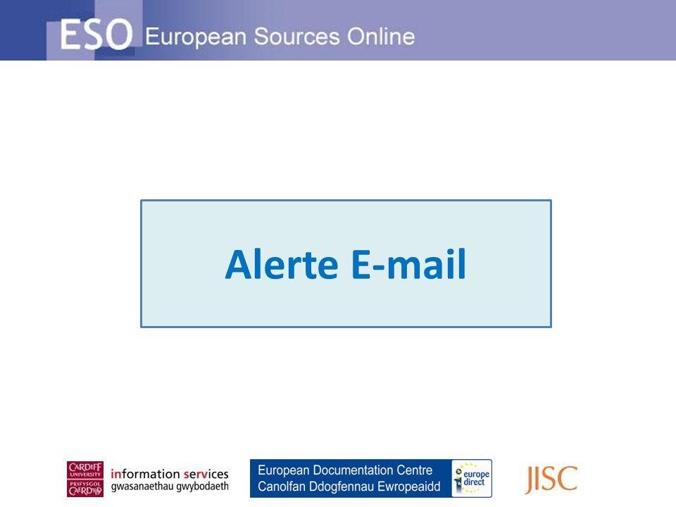 Recevez un e-mail hebdomadaire dESO pour rester informé des dernières actualités sur les sujets qui vous intéressent