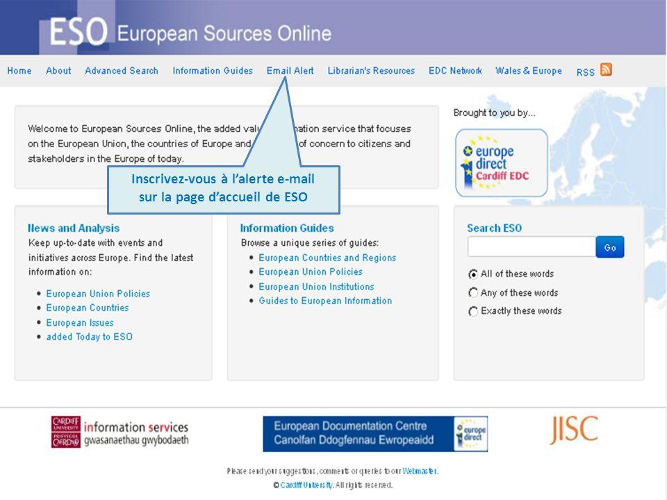 Inscrivez-vous à lalerte e-mail sur la page daccueil de ESO