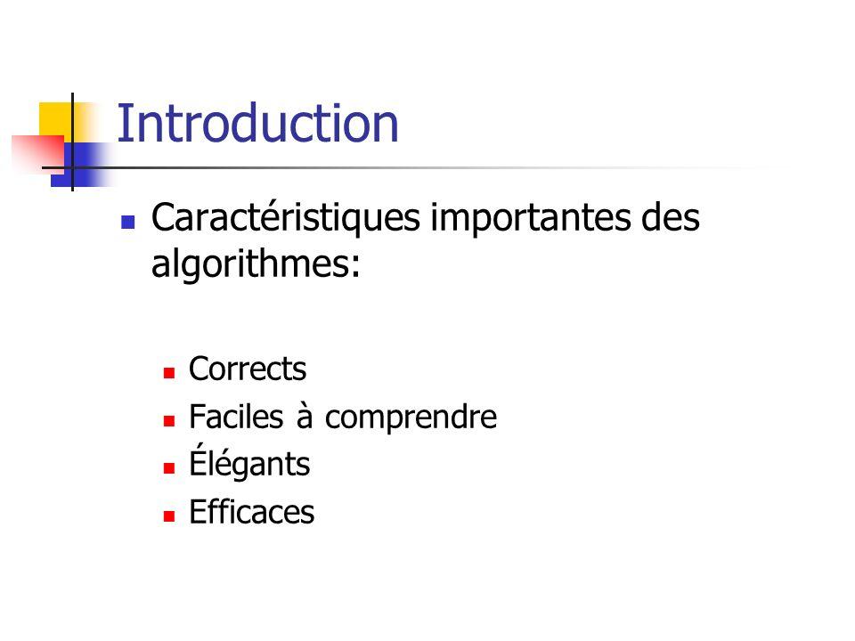 Introduction Caractéristiques importantes des algorithmes: Corrects Faciles à comprendre Élégants Efficaces