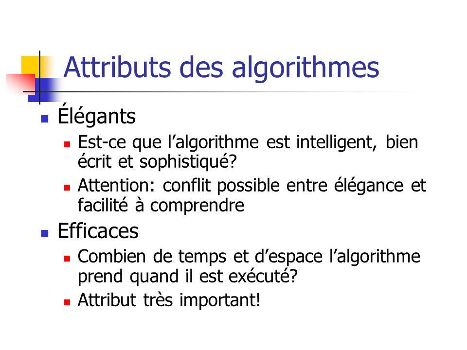Attributs des algorithmes Élégants Est-ce que lalgorithme est intelligent, bien écrit et sophistiqué.