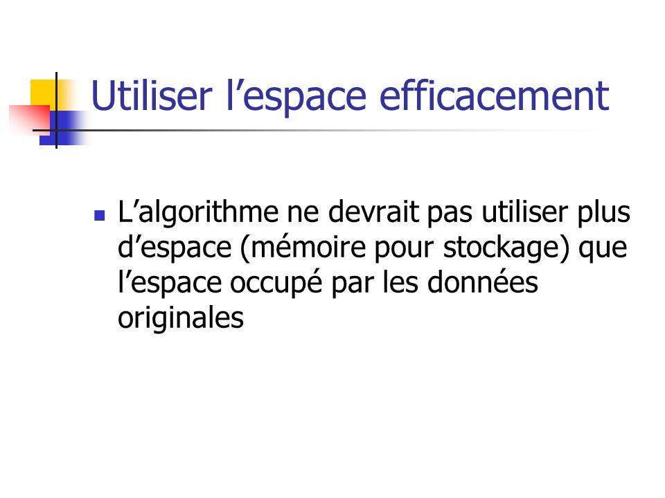 Utiliser lespace efficacement Lalgorithme ne devrait pas utiliser plus despace (mémoire pour stockage) que lespace occupé par les données originales