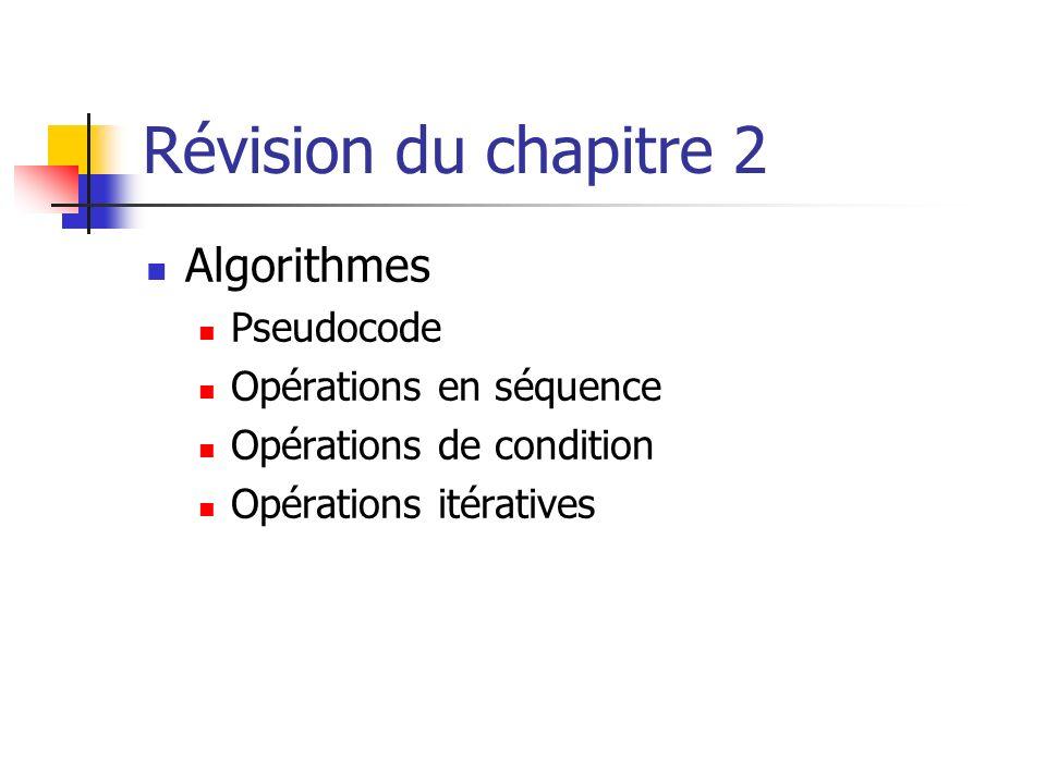 Révision du chapitre 2 Algorithmes Pseudocode Opérations en séquence Opérations de condition Opérations itératives