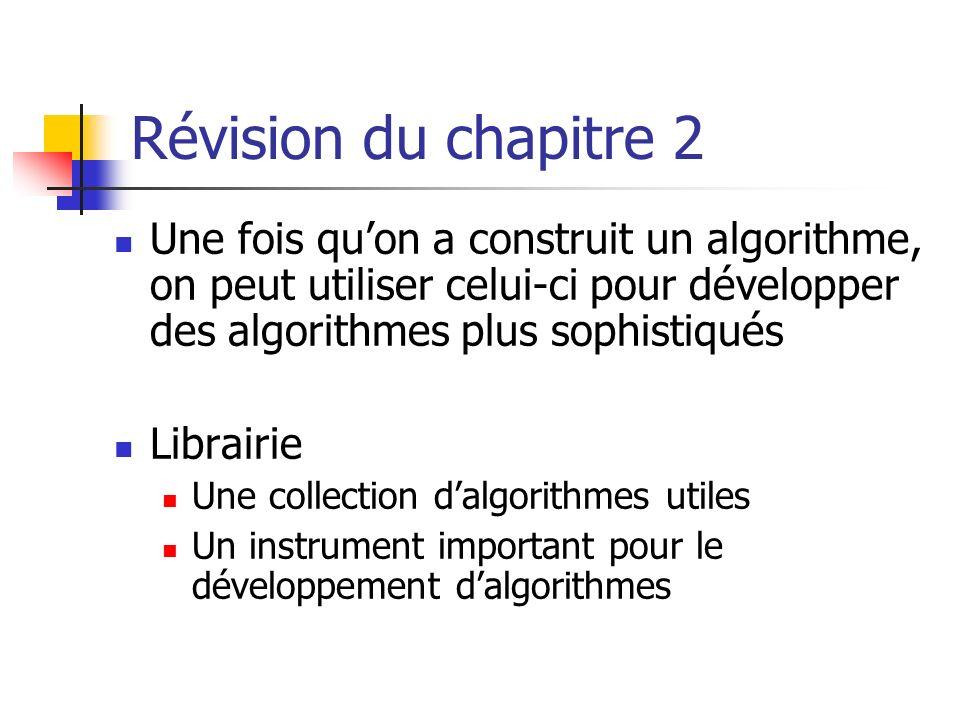 Révision du chapitre 2 Une fois quon a construit un algorithme, on peut utiliser celui-ci pour développer des algorithmes plus sophistiqués Librairie Une collection dalgorithmes utiles Un instrument important pour le développement dalgorithmes