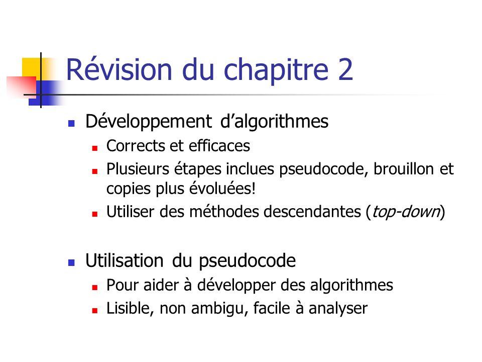 Révision du chapitre 2 Développement dalgorithmes Corrects et efficaces Plusieurs étapes inclues pseudocode, brouillon et copies plus évoluées.