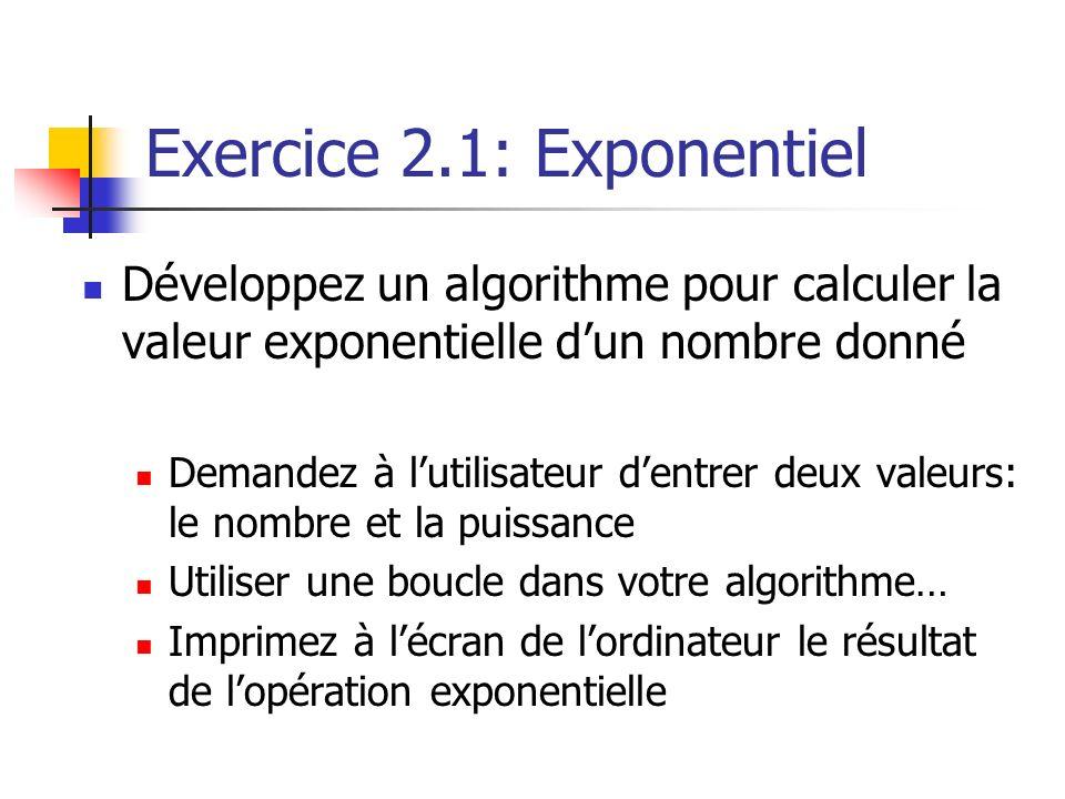 Exercice 2.1: Exponentiel Développez un algorithme pour calculer la valeur exponentielle dun nombre donné Demandez à lutilisateur dentrer deux valeurs: le nombre et la puissance Utiliser une boucle dans votre algorithme… Imprimez à lécran de lordinateur le résultat de lopération exponentielle