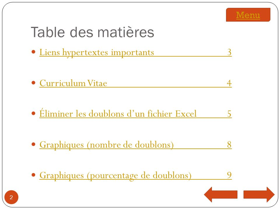 Table des matières Liens hypertextes importants3 Liens hypertextes importants3 Curriculum Vitae4 Curriculum Vitae4 Éliminer les doublons dun fichier Excel5 Éliminer les doublons dun fichier Excel5 Graphiques (nombre de doublons)8 Graphiques (nombre de doublons)8 Graphiques (pourcentage de doublons)9 Graphiques (pourcentage de doublons)9 2 Menu
