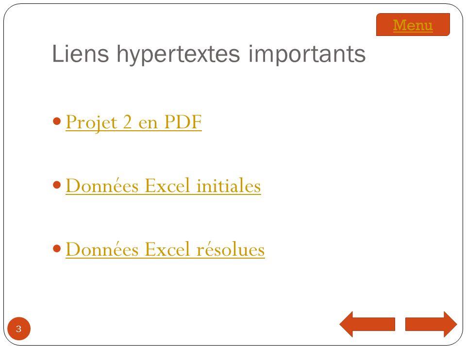 Liens hypertextes importants Projet 2 en PDF Données Excel initiales Données Excel résolues 3 Menu