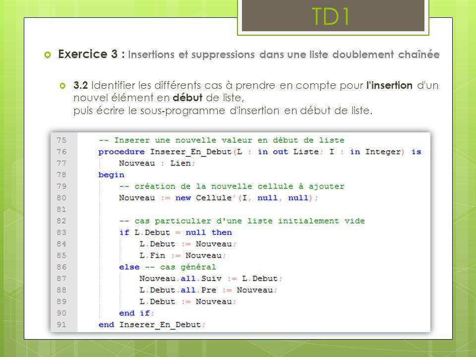 TD1 Exercice 3 : Insertions et suppressions dans une liste doublement chaînée 3.2 Identifier les différents cas à prendre en compte pour l'insertion d