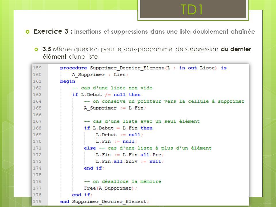 TD1 Exercice 3 : Insertions et suppressions dans une liste doublement chaînée 3.5 Même question pour le sous programme de suppression du dernier éléme