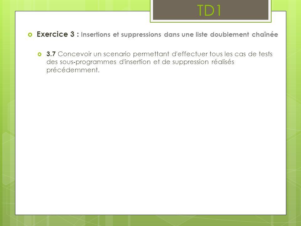 TD1 Exercice 3 : Insertions et suppressions dans une liste doublement chaînée 3.7 Concevoir un scenario permettant d'effectuer tous les cas de tests d