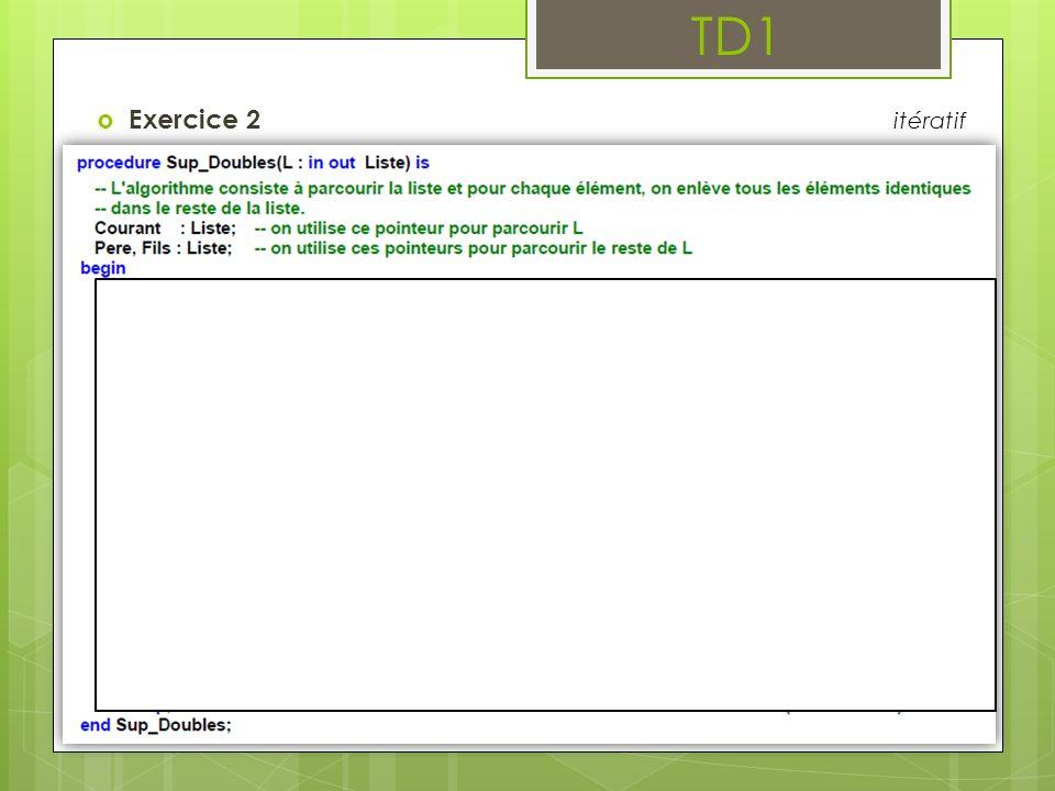 TD1 Exercice 3 : Insertions et suppressions dans une liste doublement chaînée 3.7 Concevoir un scenario permettant d effectuer tous les cas de tests des sous programmes d insertion et de suppression réalisés précédemment.