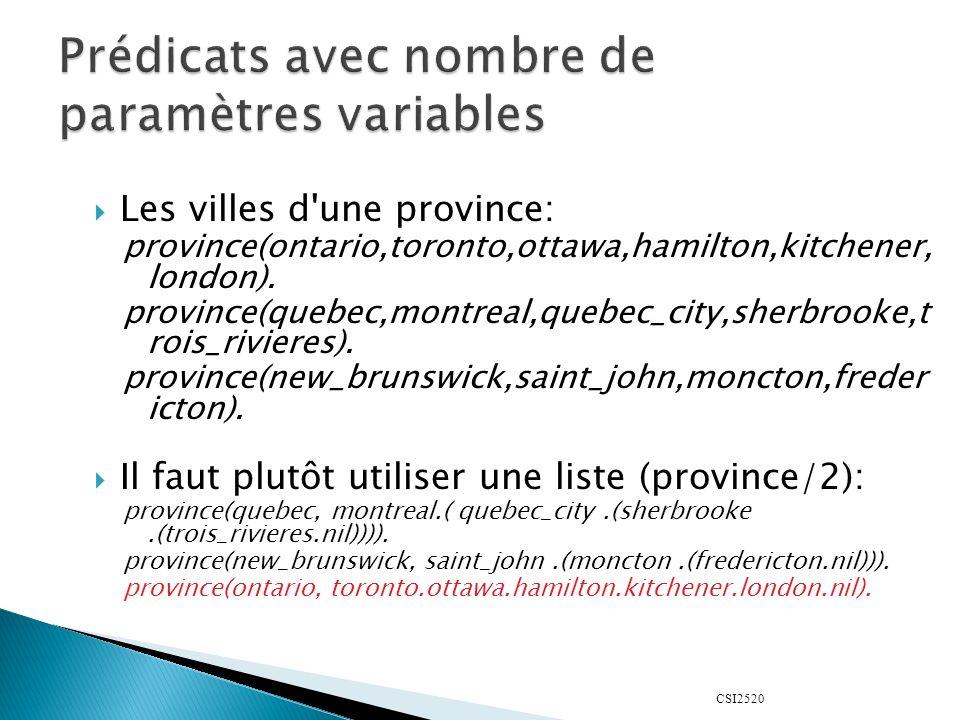 CSI2520 Les villes d'une province: province(ontario,toronto,ottawa,hamilton,kitchener, london). province(quebec,montreal,quebec_city,sherbrooke,t rois