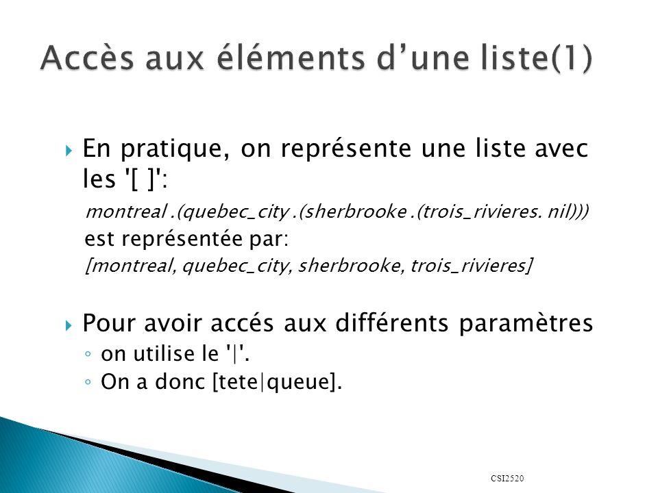 CSI2520 En pratique, on représente une liste avec les '[ ]': montreal.(quebec_city.(sherbrooke.(trois_rivieres. nil))) est représentée par: [montreal,