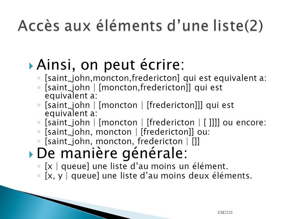 CSI2520 Ainsi, on peut écrire: [saint_john,moncton,fredericton] qui est equivalent a: [saint_john | [moncton,fredericton]] qui est equivalent a: [saint_john | [moncton | [fredericton]]] qui est equivalent a: [saint_john | [moncton | [fredericton | [ ]]]] ou encore: [saint_john, moncton | [fredericton]] ou: [saint_john, moncton, fredericton | []] De manière générale: [x | queue] une liste dau moins un élément.