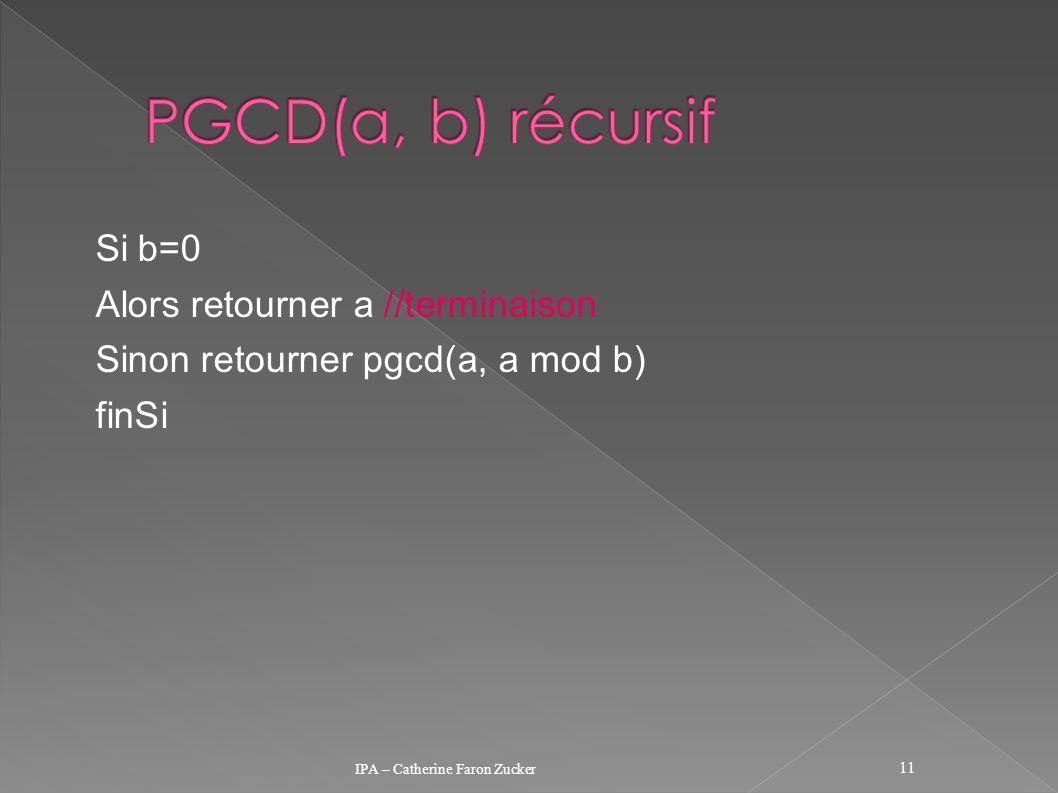 Si b=0 Alors retourner a //terminaison Sinon retourner pgcd(a, a mod b) finSi IPA – Catherine Faron Zucker 11