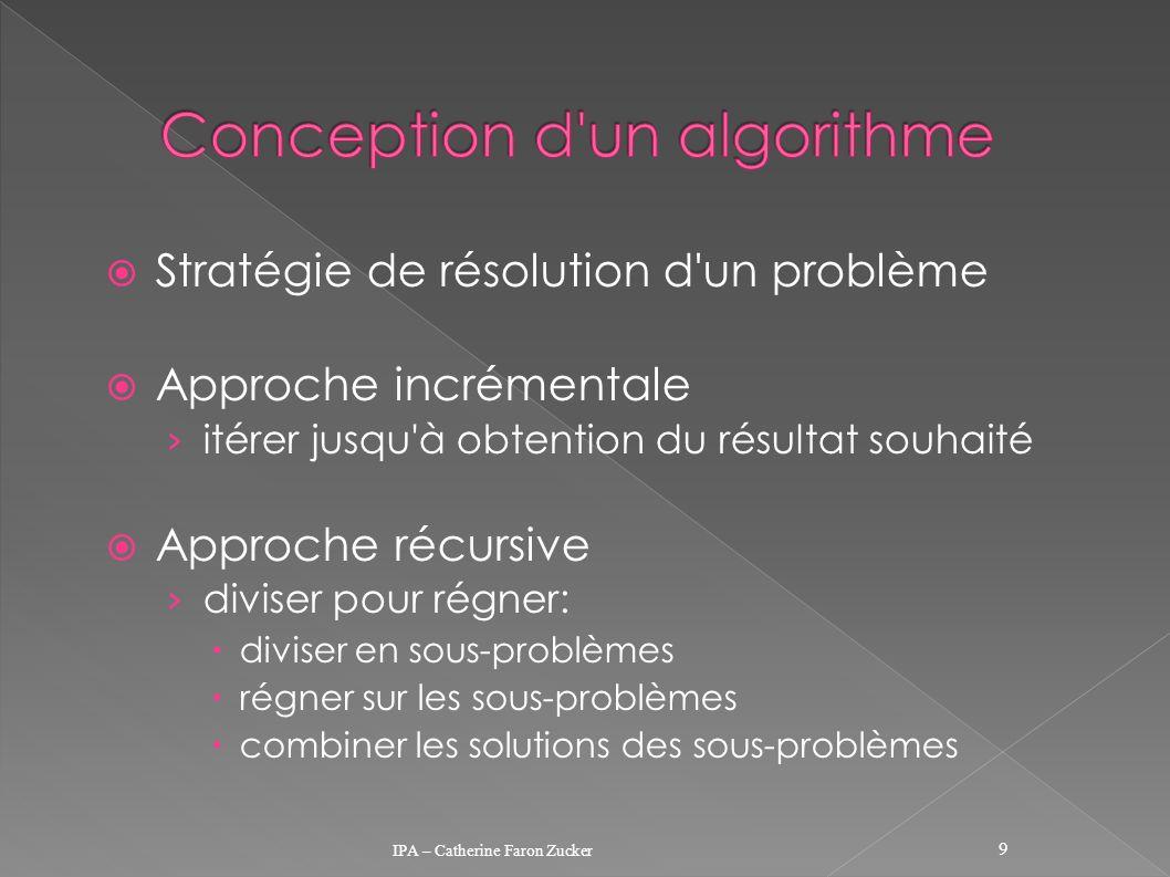 Stratégie de résolution d'un problème Approche incrémentale itérer jusqu'à obtention du résultat souhaité Approche récursive diviser pour régner: divi