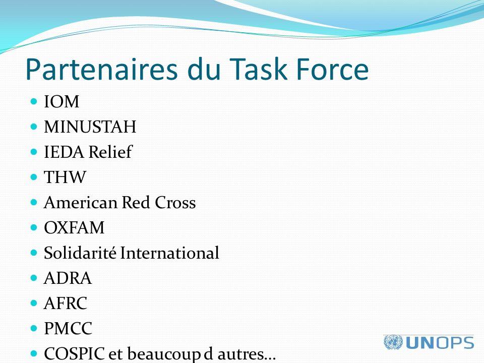 Partenaires du Task Force IOM MINUSTAH IEDA Relief THW American Red Cross OXFAM Solidarité International ADRA AFRC PMCC COSPIC et beaucoup d autres…