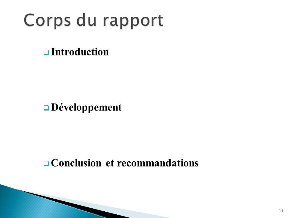 Introduction Développement Conclusion et recommandations 11