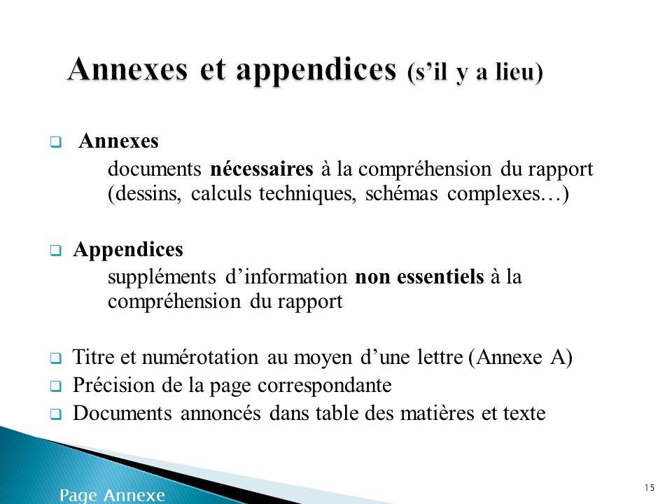 Annexes documents nécessaires à la compréhension du rapport (dessins, calculs techniques, schémas complexes…) Appendices suppléments dinformation non