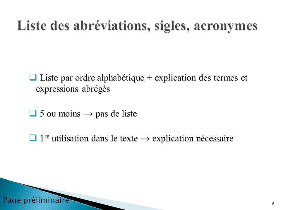 Liste par ordre alphabétique + explication des termes et expressions abrégés 5 ou moins pas de liste 1 re utilisation dans le texte explication nécess