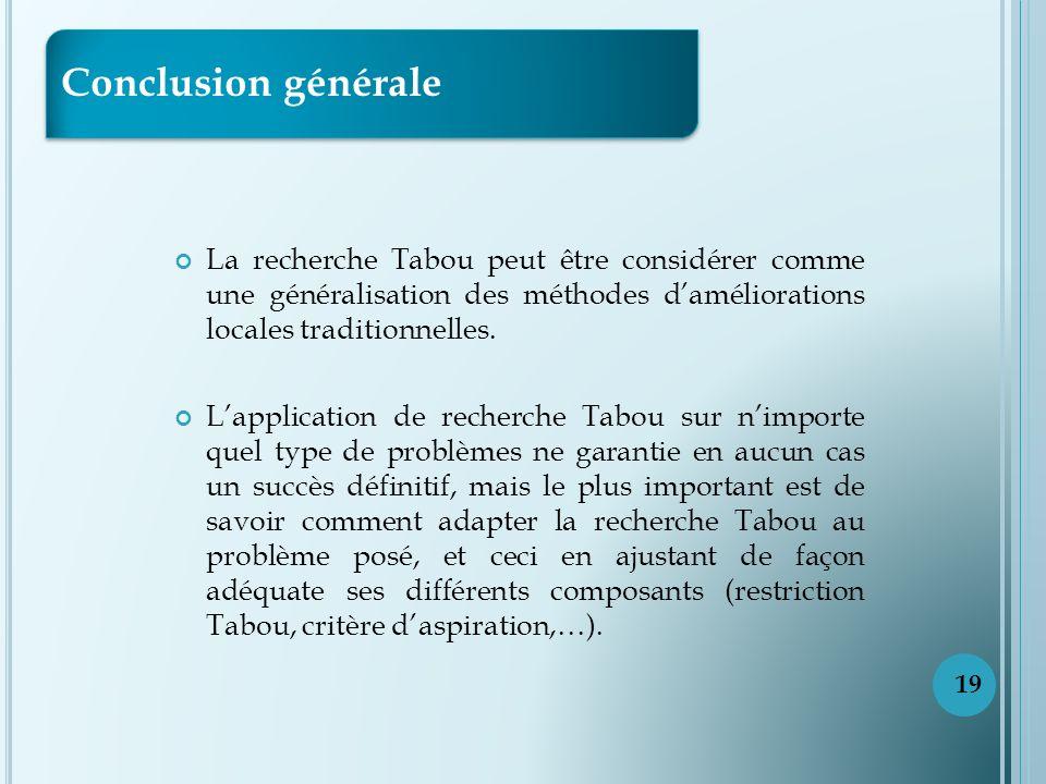 La recherche Tabou peut être considérer comme une généralisation des méthodes daméliorations locales traditionnelles.