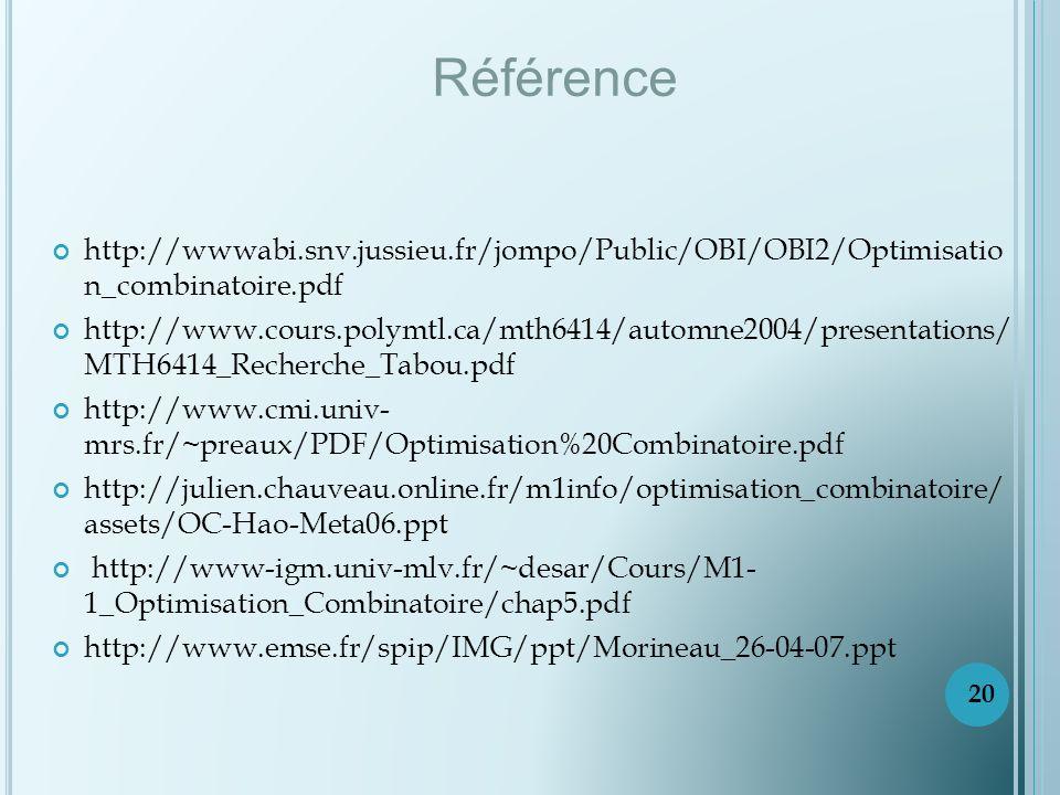 http://wwwabi.snv.jussieu.fr/jompo/Public/OBI/OBI2/Optimisatio n_combinatoire.pdf http://www.cours.polymtl.ca/mth6414/automne2004/presentations/ MTH6414_Recherche_Tabou.pdf http://www.cmi.univ- mrs.fr/~preaux/PDF/Optimisation%20Combinatoire.pdf http://julien.chauveau.online.fr/m1info/optimisation_combinatoire/ assets/OC-Hao-Meta06.ppt http://www-igm.univ-mlv.fr/~desar/Cours/M1- 1_Optimisation_Combinatoire/chap5.pdf http://www.emse.fr/spip/IMG/ppt/Morineau_26-04-07.ppt Référence 20