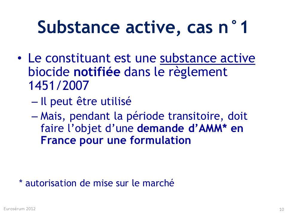 Substance active, cas n°1 Le constituant est une substance active biocide notifiée dans le règlement 1451/2007 – Il peut être utilisé – Mais, pendant