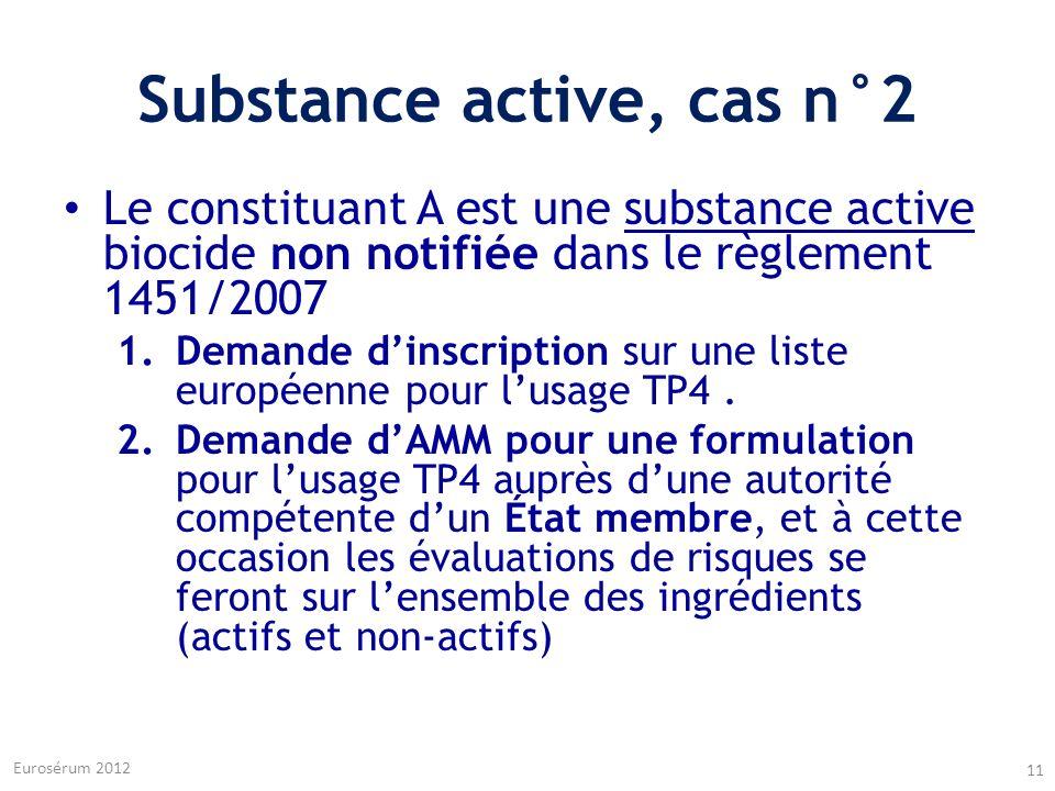 Substance active, cas n°2 Le constituant A est une substance active biocide non notifiée dans le règlement 1451/2007 1.Demande dinscription sur une li