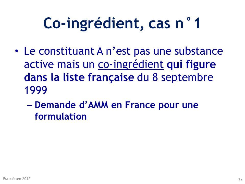 Co-ingrédient, cas n°1 Le constituant A nest pas une substance active mais un co-ingrédient qui figure dans la liste française du 8 septembre 1999 – D