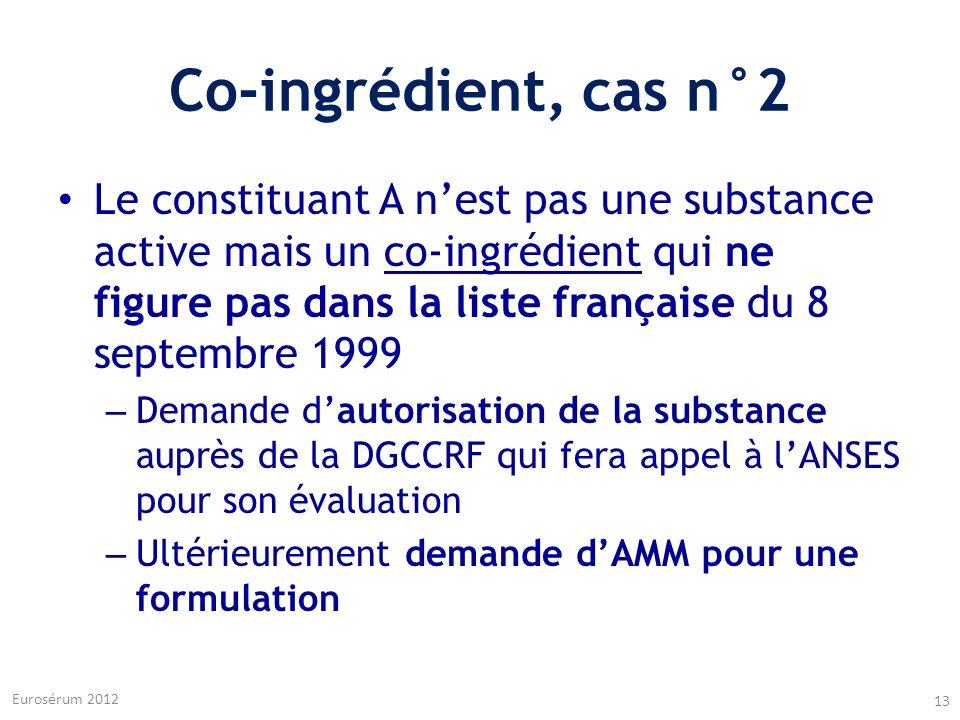 Co-ingrédient, cas n°2 Le constituant A nest pas une substance active mais un co-ingrédient qui ne figure pas dans la liste française du 8 septembre 1