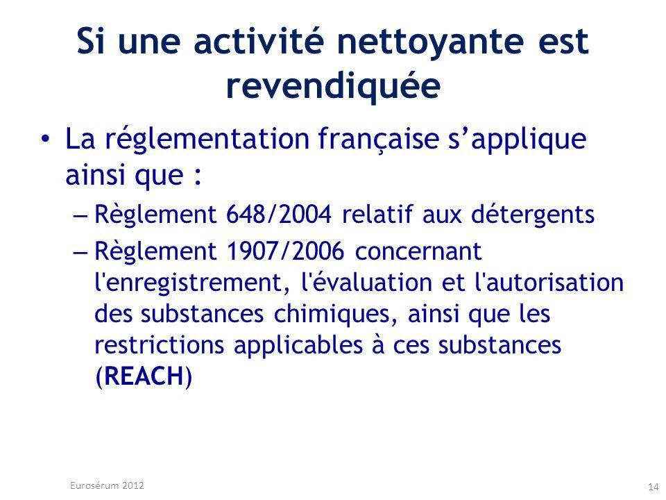 Si une activité nettoyante est revendiquée La réglementation française sapplique ainsi que : – Règlement 648/2004 relatif aux détergents – Règlement 1