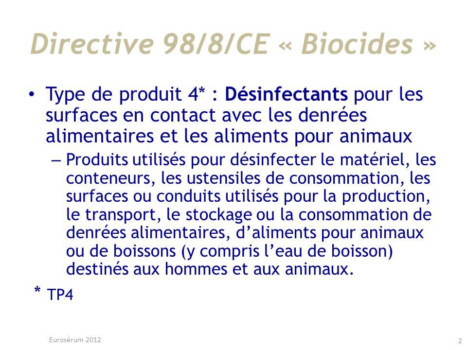 Directive 98/8/CE « Biocides » Type de produit 4* : Désinfectants pour les surfaces en contact avec les denrées alimentaires et les aliments pour anim