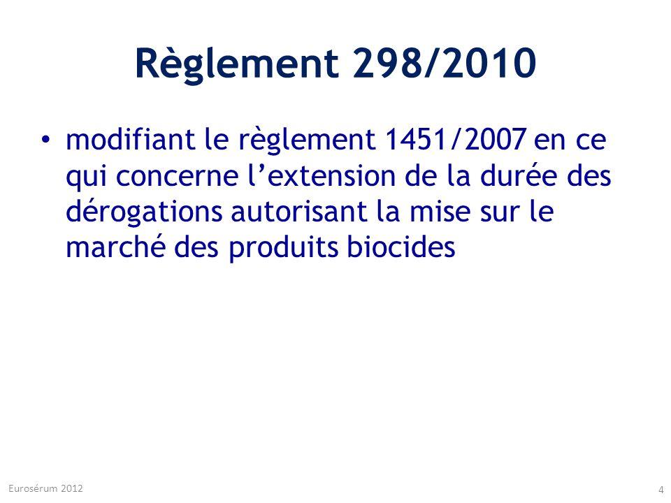 Règlement 298/2010 modifiant le règlement 1451/2007 en ce qui concerne lextension de la durée des dérogations autorisant la mise sur le marché des pro