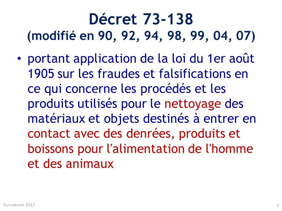 Décret 73-138 (modifié en 90, 92, 94, 98, 99, 04, 07) portant application de la loi du 1er août 1905 sur les fraudes et falsifications en ce qui conce