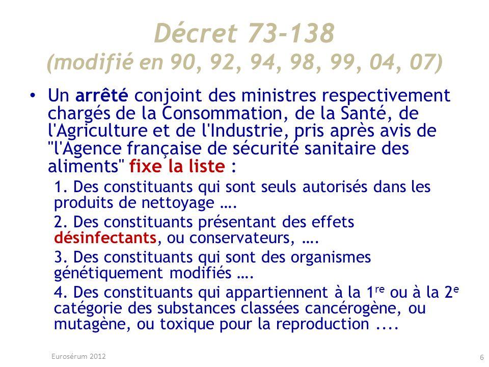 Décret 73-138 (modifié en 90, 92, 94, 98, 99, 04, 07) Un arrêté conjoint des ministres respectivement chargés de la Consommation, de la Santé, de l'Ag